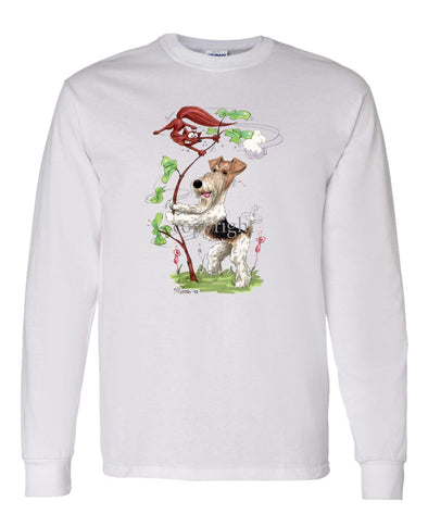 Wire Fox Terrier - Shaking Fox In Tree - Caricature - Long Sleeve T-Shirt