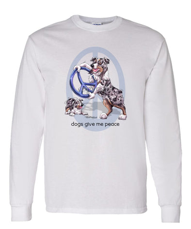 Australian Shepherd  Blue Merle - Peace Dogs - Long Sleeve T-Shirt
