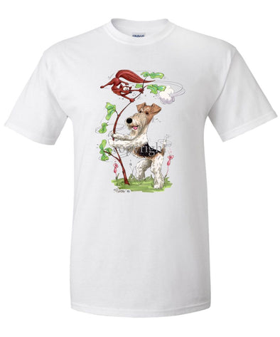 Wire Fox Terrier - Shaking Fox In Tree - Caricature - T-Shirt