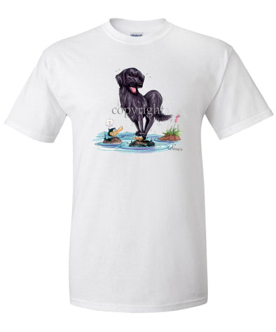 Flat Coated Retriever - Standing On Ducks Head - Caricature - T-Shirt