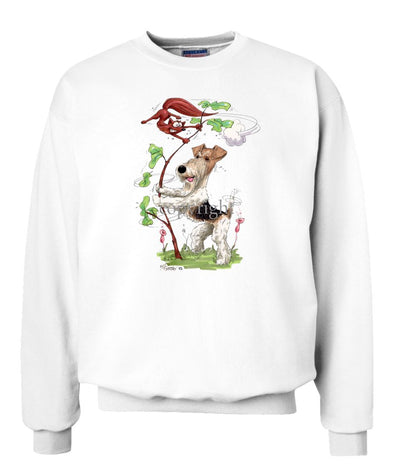 Wire Fox Terrier - Shaking Fox In Tree - Caricature - Sweatshirt