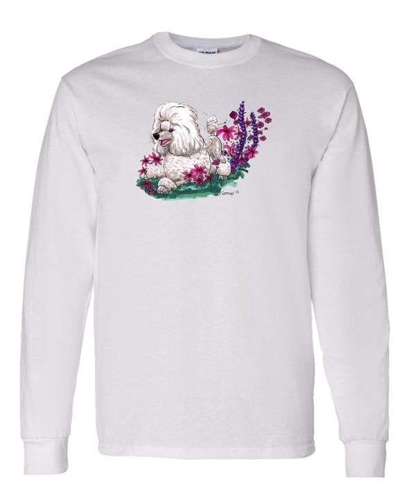 Poodle  Toy White - In Flowers - Caricature - Long Sleeve T-Shirt