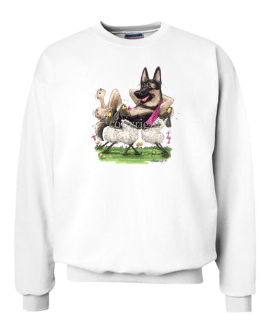 German Shepherd - Carried By Sheep - Caricature - Sweatshirt