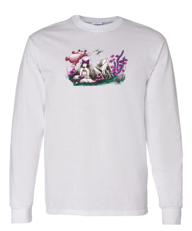 Shih Tzu - Flowers Teddy Bear - Caricature - Long Sleeve T-Shirt
