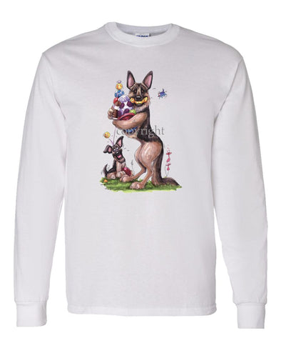 German Shepherd - Holding Balls And Toys - Caricature - Long Sleeve T-Shirt