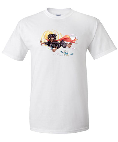 Rottweiler - Flying With Cape - Caricature - T-Shirt