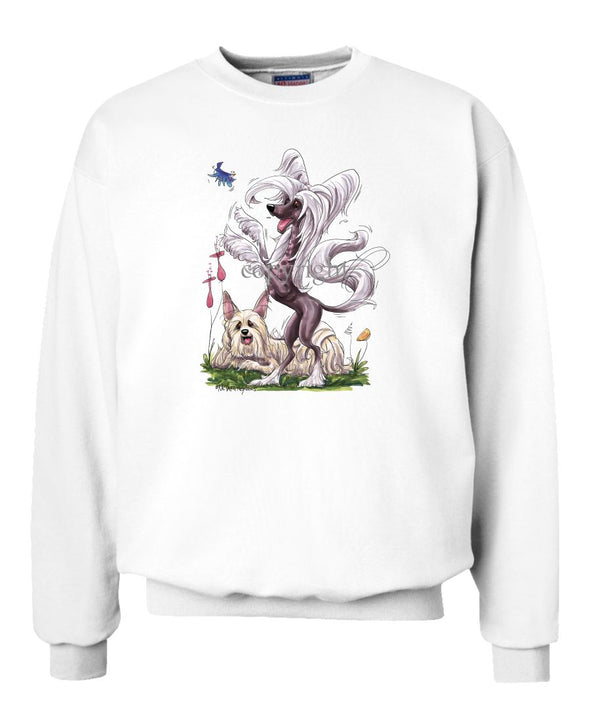 Chinese Crested - Group Standing - Caricature - Sweatshirt
