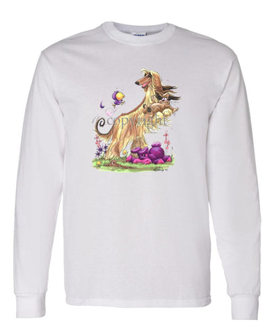 Afghan Hound - Standing With Rabbit - Caricature - Long Sleeve T-Shirt