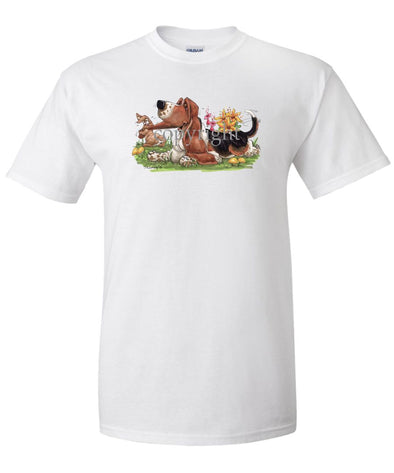 Basset Hound - Rabbit Pulling Ear - Caricature - T-Shirt