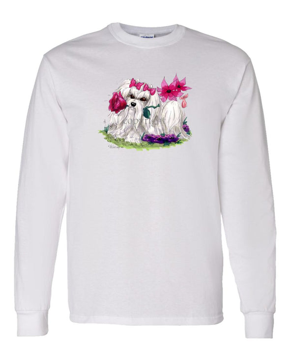 Maltese - With Flower - Caricature - Long Sleeve T-Shirt