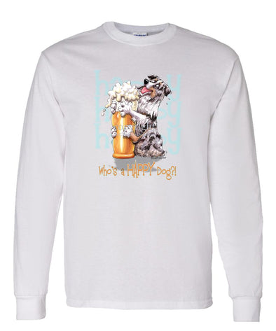 Australian Shepherd  Blue Merle - 2 - Who's A Happy Dog - Long Sleeve T-Shirt