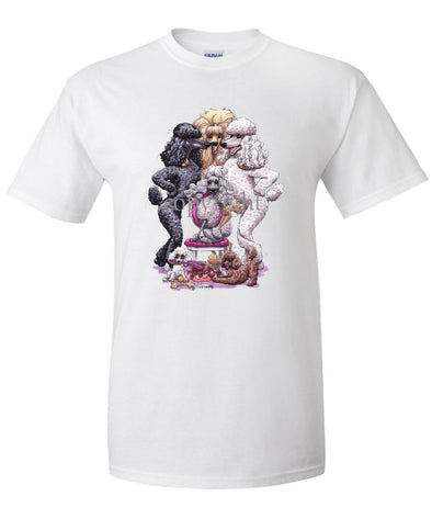 Poodle - Group Standing Around Chair - Caricature - T-Shirt