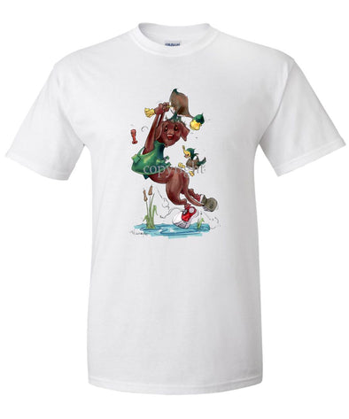 Labrador Retriever  Chocolate - Hanging From Duck Leg - Caricature - T-Shirt