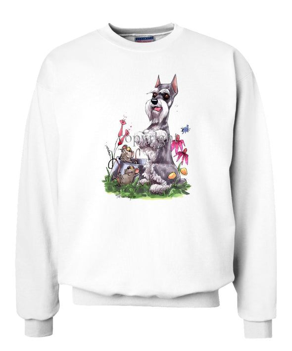 Schnauzer - Sitting With Mice Dish - Caricature - Sweatshirt