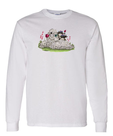 Komondor - With Rose - Caricature - Long Sleeve T-Shirt