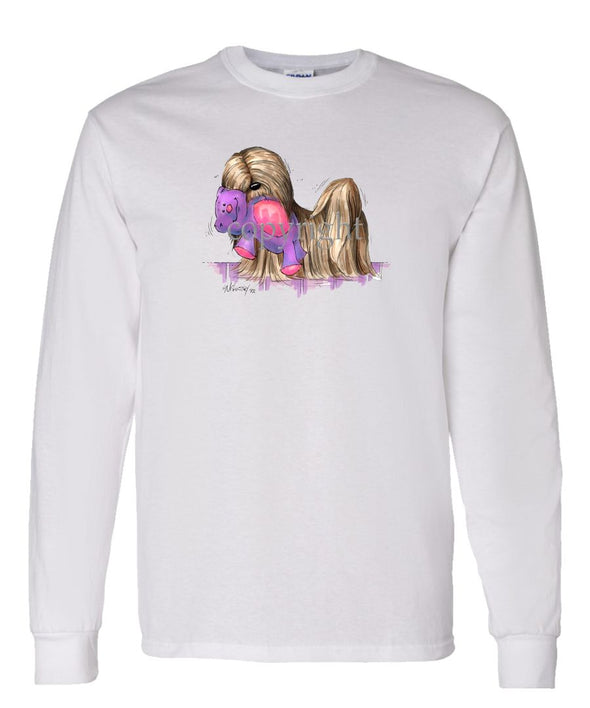 Lhasa Apso - With Toy Bear - Caricature - Long Sleeve T-Shirt