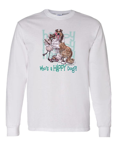Collie - Who's A Happy Dog - Long Sleeve T-Shirt