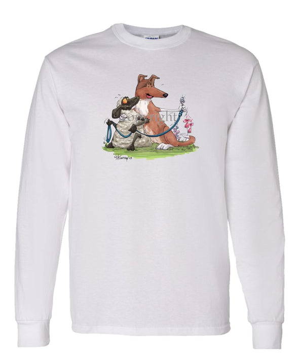 Collie  Smooth - Hugging Sheep With Leash - Caricature - Long Sleeve T-Shirt