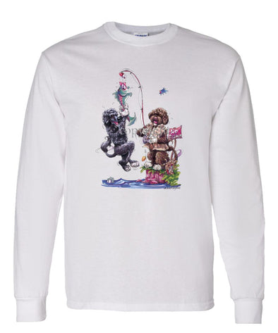 Portuguese Water Dog - Group Fishing - Caricature - Long Sleeve T-Shirt