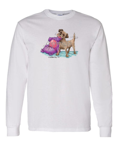 Border Terrier - With Stuffed Toy - Caricature - Long Sleeve T-Shirt