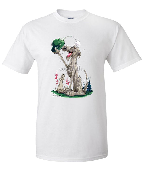 Irish Wolfhound - Tipping Hat - Caricature - T-Shirt