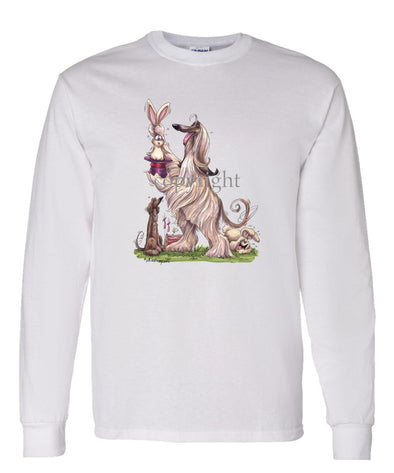 Afghan Hound - Pulling Rabbit Out Of Hat - Caricature - Long Sleeve T-Shirt