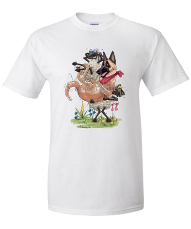 Belgian Malinois - Sheep Holding Malinois - Caricature - T-Shirt
