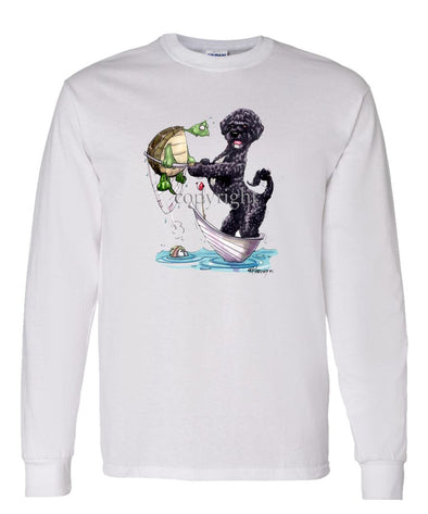 Portuguese Water Dog - Catching Turtle - Caricature - Long Sleeve T-Shirt