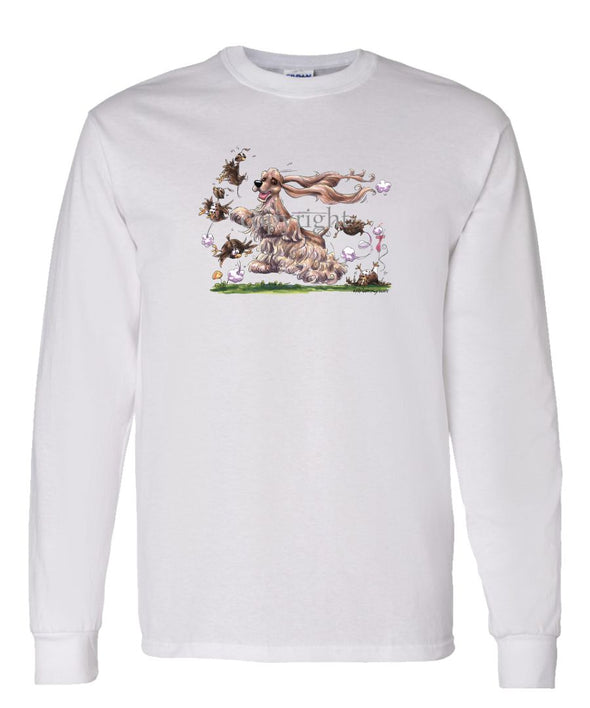 Cocker Spaniel - Chasing Quail - Caricature - Long Sleeve T-Shirt