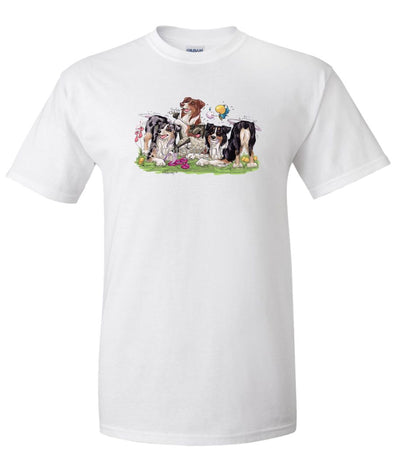 Australian Shepherd - Group Tickling Sheep - Caricature - T-Shirt