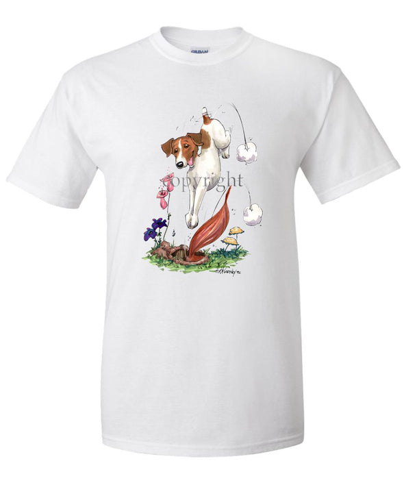 Parson Russell Terrier - Diving After Fox - Caricature - T-Shirt