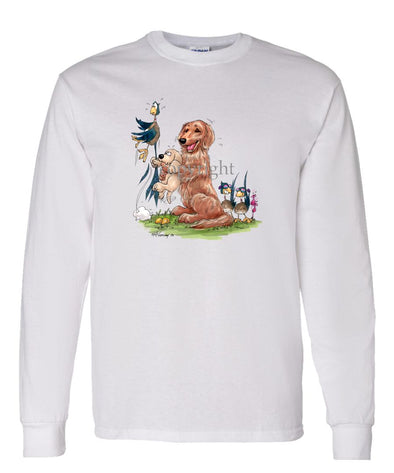 Golden Retriever - Puppy Holding Pheasants Tail - Caricature - Long Sleeve T-Shirt