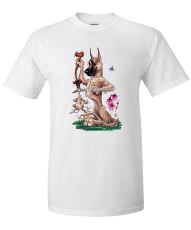 Great Dane - Puppy Hanging Onto Bone - Caricature - T-Shirt