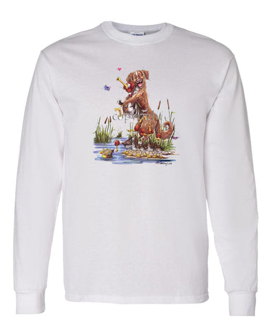 Nova Scotia Duck Tolling Retriever - Holding Duck - Caricature - Long Sleeve T-Shirt