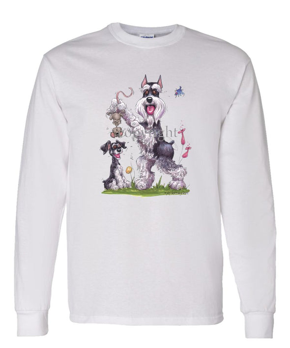 Schnauzer - Standing Holding Mouse - Caricature - Long Sleeve T-Shirt