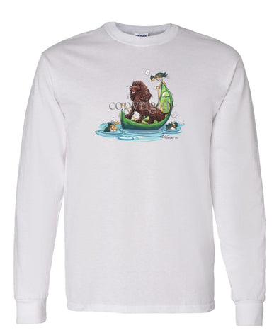 American Water Spaniel - Canoe - Caricature - Long Sleeve T-Shirt