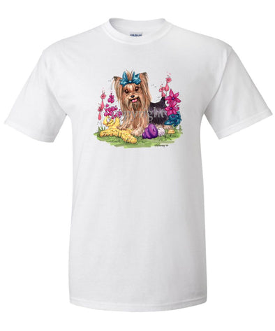 Yorkshire Terrier - Toys Turquoise Ribbon - Caricature - T-Shirt