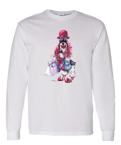 Schnauzer - Red Hat - Caricature - Long Sleeve T-Shirt