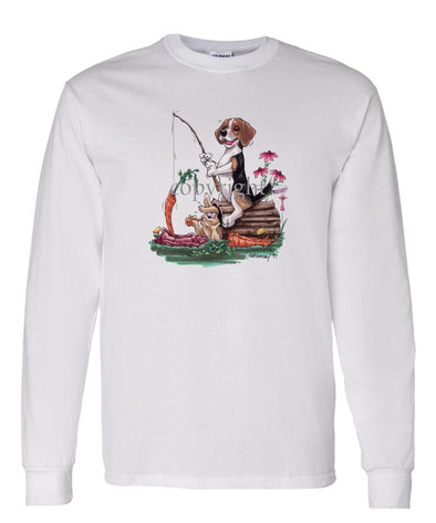 Beagle - Fishing With Carrot - Caricature - Long Sleeve T-Shirt