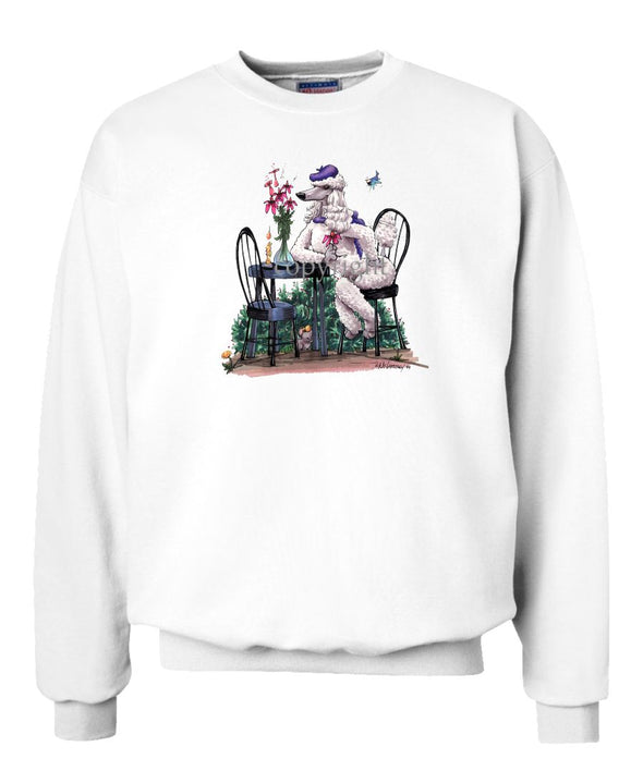 Poodle  White - Sitting At Table - Caricature - Sweatshirt