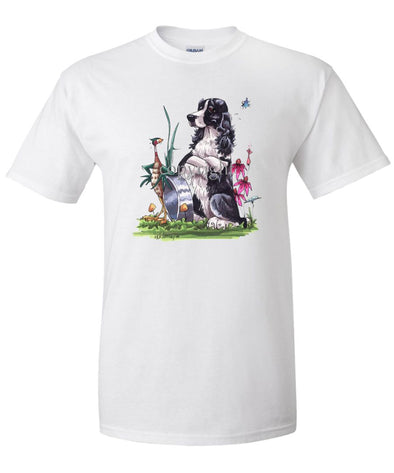 English Springer Spaniel - Sitting By Bowl With Pheasant - Caricature - T-Shirt