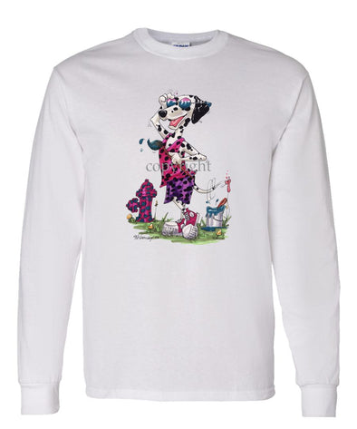 Dalmatian - Painting Hydren - Caricature - Long Sleeve T-Shirt