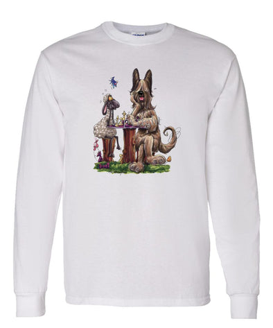 Briard - Playing Chess With Sheep - Caricature - Long Sleeve T-Shirt
