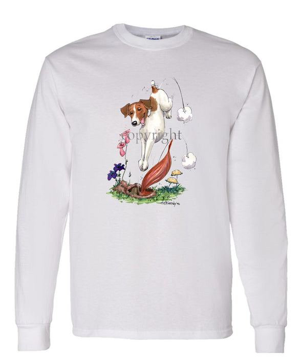 Parson Russell Terrier - Diving After Fox - Caricature - Long Sleeve T-Shirt