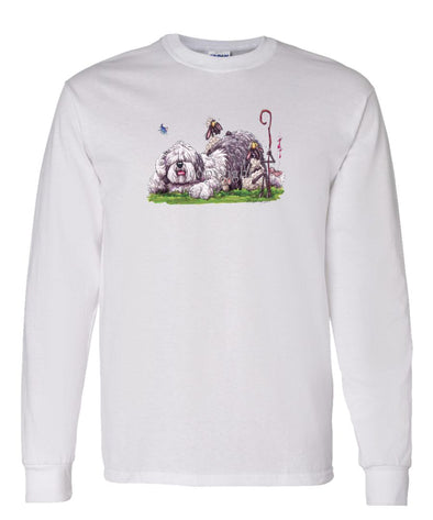 Old English Sheepdog - Laying Down With Sheep - Caricature - Long Sleeve T-Shirt