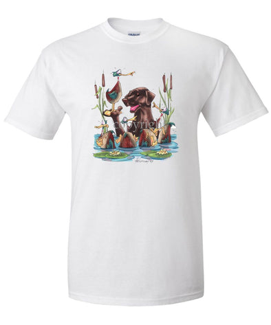 Labrador Retriever  Chocolate - Wading With Ducks - Caricature - T-Shirt