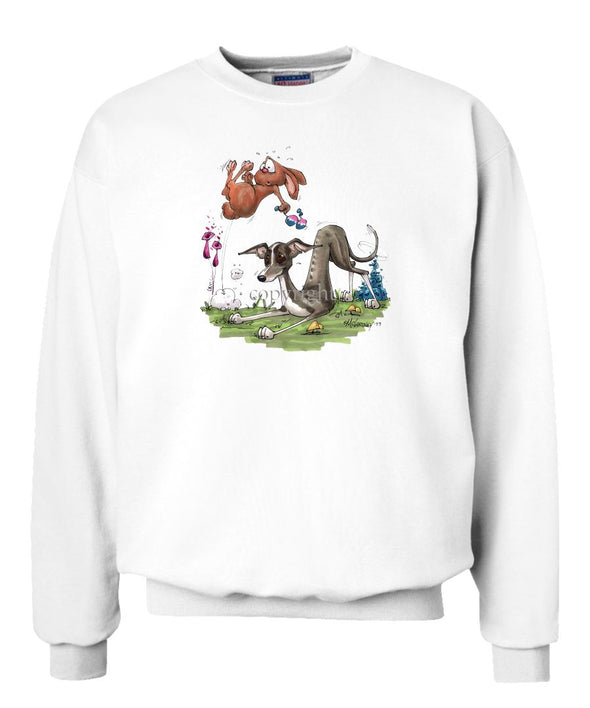 Italian Greyhound - Playing With Rabbit - Caricature - Sweatshirt