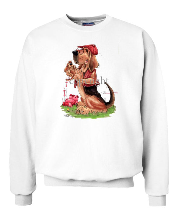 Bloodhound - With-puppy - Caricature - Sweatshirt
