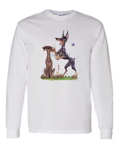 Doberman Pinscher - Group Pinching Nose - Caricature - Long Sleeve T-Shirt