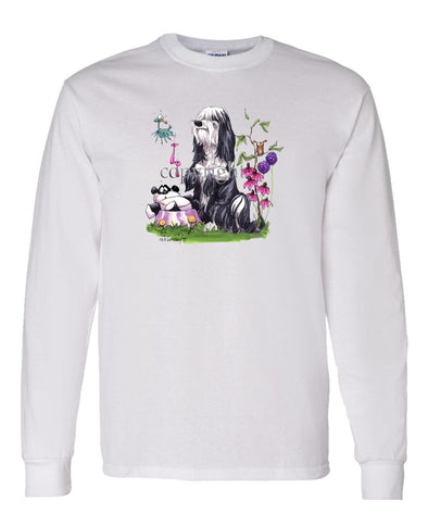 Tibetan Terrier - Panda In Dish - Caricature - Long Sleeve T-Shirt